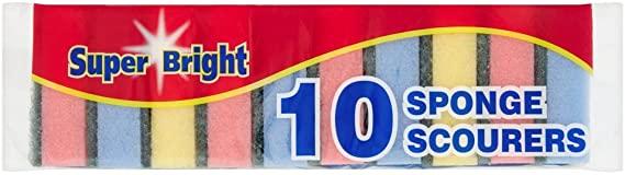 Super bright 10 sponge scourers