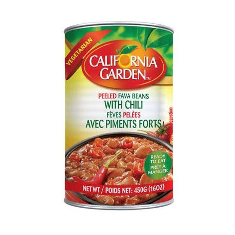 California garden fava beans with chilli