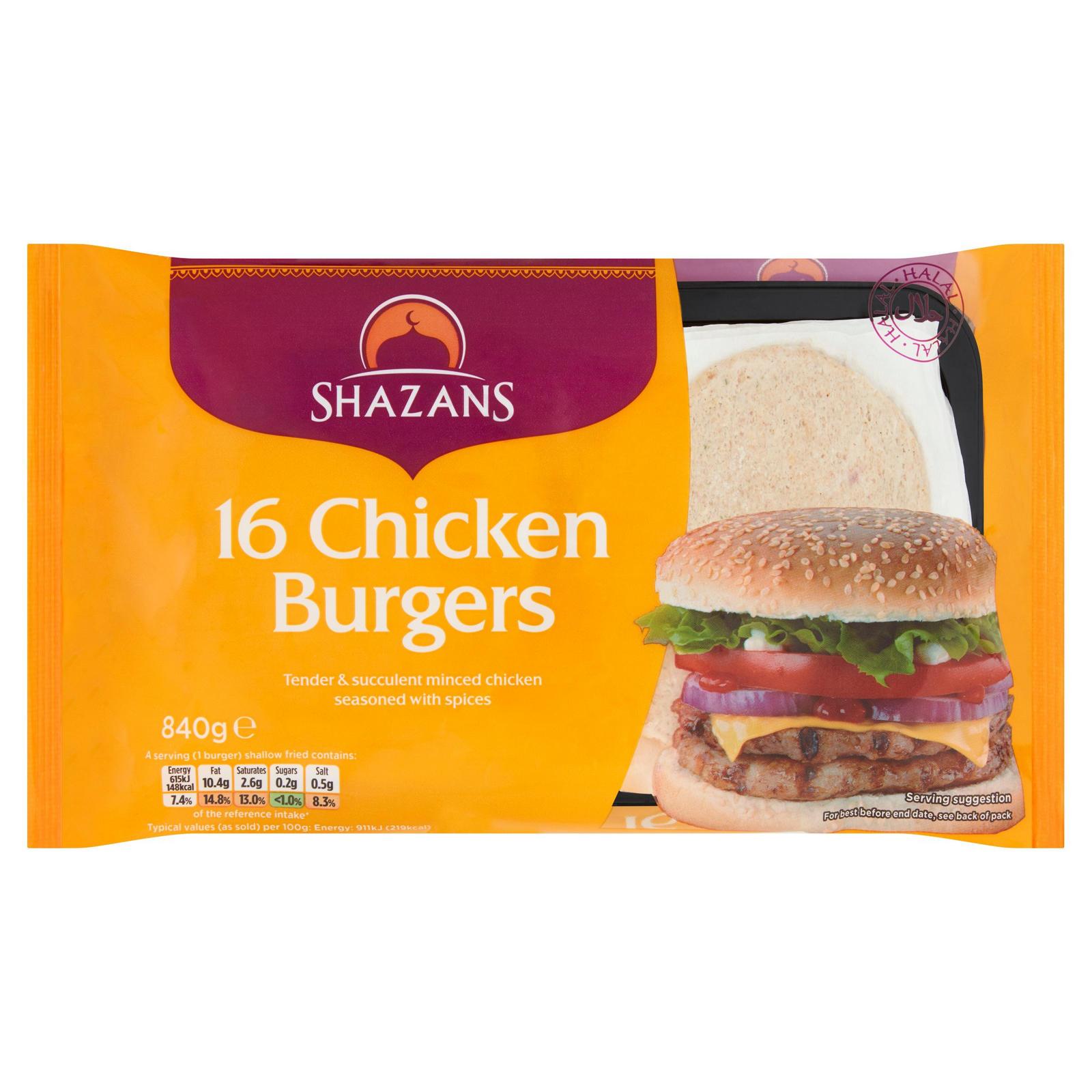 Shazans 16 Chicken Burgers
