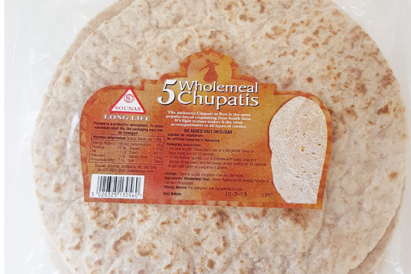5 Wholemeal Chupatis